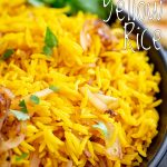 PIN IMAGE - Yellow Indian rice with text overlay in the top right