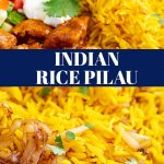 PIN IMAGE - 2 pictures of Indian Pilau with text overlay in the middle