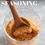 PINTEREST IMAGE - A pot of taco seasoning with text overlay