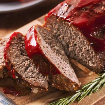 overhead of slices of meatloaf on a board