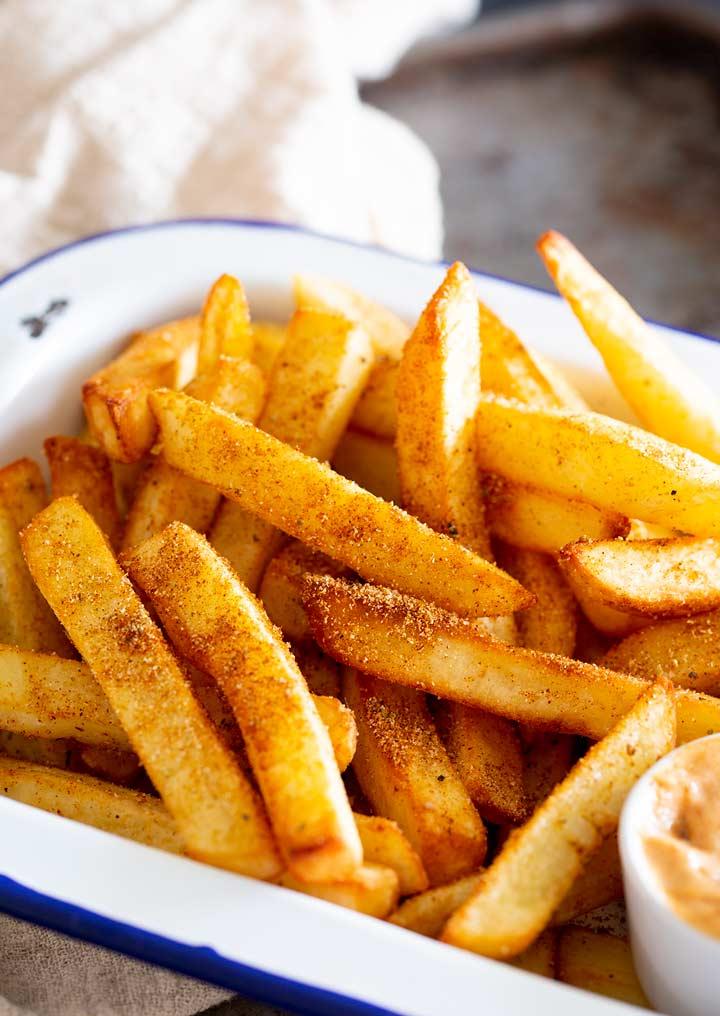 close up on the seasoning on peri peri fries