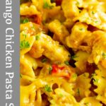 Pin image - Mango chicken pasta salad with text overlay