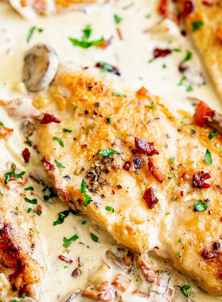 overhead view of the crispy golden chicken in a creamy sauce