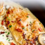 Pinterest image. Mushroom bacon chicken picture with text overlay