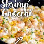 Pinterest Image - Creamy lemon shrimp gnocchi with text overlay
