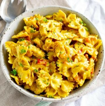 closeup of a rustic bowl filled with bowtie pasta in a yellow sauce