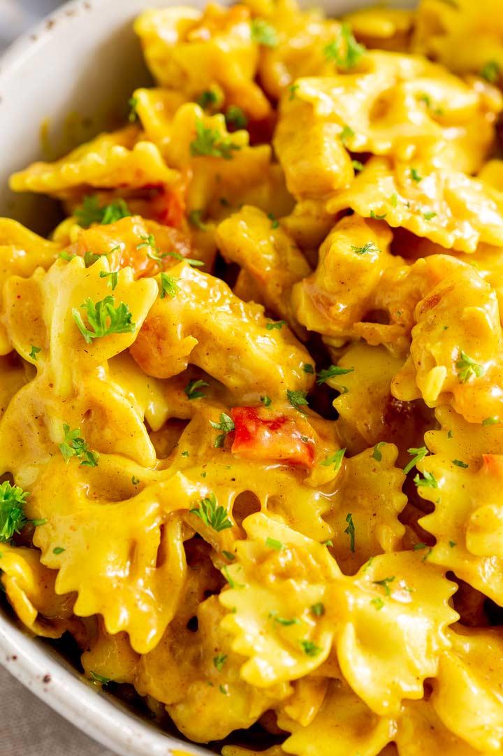 overhead close up of the mango chicken pasta salad