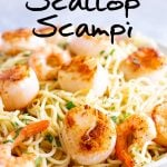 PINTEREST IMAGE - Shrimp scallop pasta with text overlay